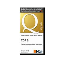 DtGV vergibt den 3. Platz in der Kategorie Preise, Service und Tarifoptionen